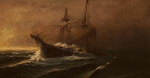 Ιστιοφόρο σε άγρια θάλασσα. Πίνακας του ζωγράφου Ιωάννη Πούλακα (1864-1942). Από το μπλογκ